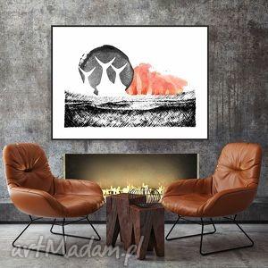 ocean traw art print a4, obraz, grafika, krajobraz, kolaż, dekoracja dom
