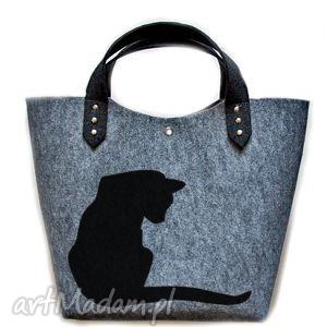 unikalny prezent, do ręki filcowa torebka kotek, torebka, torba, filcowa, filc