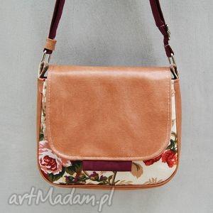 bambi - mała torebka kwiaty i beż, mała, wygodna, praktyczna, ekoskóra, listonoszka