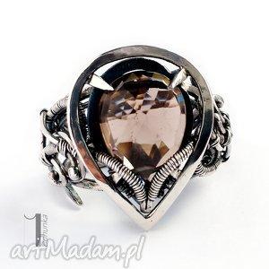 pierścionki ratri - srebrny pierścień z kwarcem dymnym, srebro, 925, regulowany