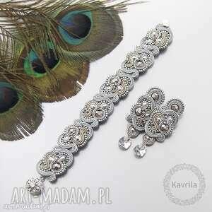 komplety komplet nilino sand soutache, sutasz, zestaw, rękodzieło biżuteria