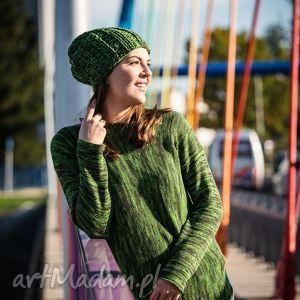 swetry zielony melanżowy sweter, melanż, zielony, wełna ubrania