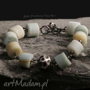 bransoletki amazonit, srebro, oksydowane, walce, surowe, prezent biżuteria