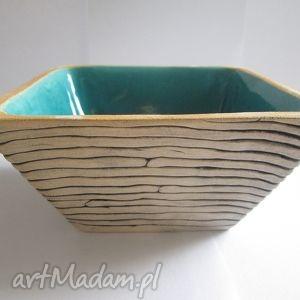 turkusowa głębia, miseczka, miska, kwadratowa, turkus, ceramiczna ceramika dom