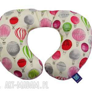 poduszka podróżna, wzór balony, balon, podróż, rogal, balonik
