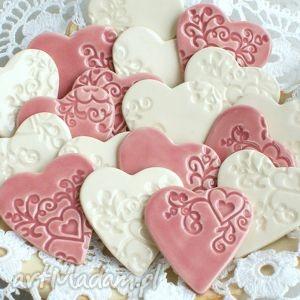 upominki dla gości, serduszka, magnesy, ceramiczne, podziękowania, upominki, ślubne