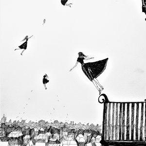 Grafika akwarelą i piórkiem Lekkość artystki plastyka Adriany Laube, kobieta