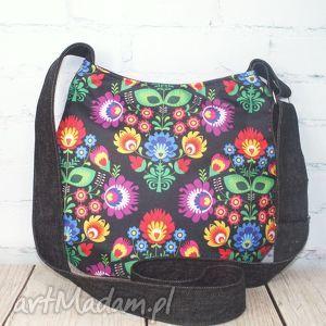 nieprzemakalny folk, ludowa, folkowa, wodoodporna, kwiaty, torebka torebki