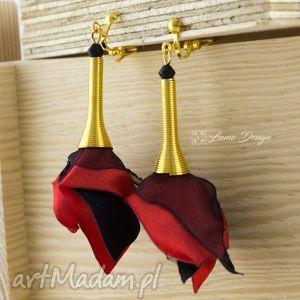 klipsy silk długie złote czerwone, długie, lekkie, eleganckie, prezent