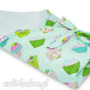 pokoik dziecka rożek miętowe muffinki, rożek, becik, śpiworek, niemowlęcy