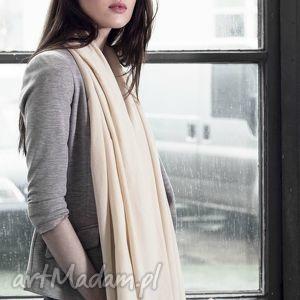 szaliki duży szal z bawełny organicznej waniliowy beż, wiosenny, kremowy, ecru