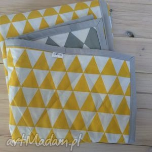 narzuta szaro-żółta 130x230cm, narzuta, trójkąty, romby, parapetówka, prezent, pled
