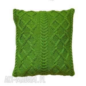 poduszki zielone warkocze, poduszka, handmade, miękka, niepowtarzalna dom, unikalny