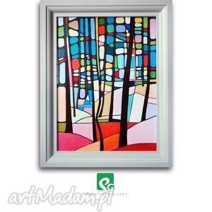 pastelkowy las grafika, las, drzewa, wydruk, plakat, reprodukcja, obraz