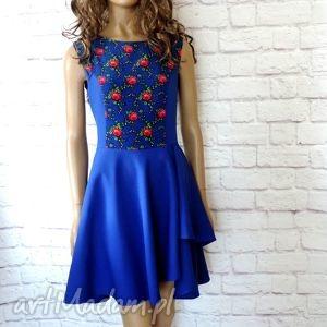 sukienka góralska z falbaną kwiaty szafir, sukienka, góralska, folk, folklor, ludowa