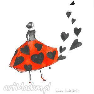 grafika akwarelą i piórkiem sercowa sukienka, grafika, rysunek, serce
