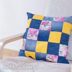 poduszki poduszka kolorowa szachownica patchwork, poduszka, jeans, tkanina