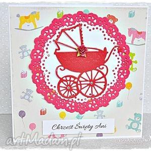 kartka na chrzest - imienna, chrzest, pamiątka, chrztu, dziewczynka, wózek, święta