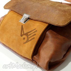 torba włóczykija a4 karmelowe brązy, skóra, zamsz, naturalna, karnel, jasny, brąz na