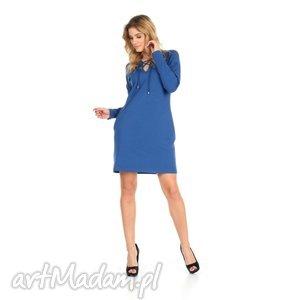 lalu sukienki 46-sukienka sznurowany dekolt,c niebieska,rękaw długi, lalu, sukienka