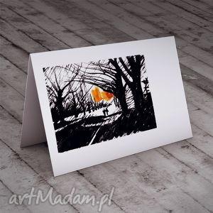 spacer karteczka na życzenia, c6, kartka, spacer, zakochani, para, miłość