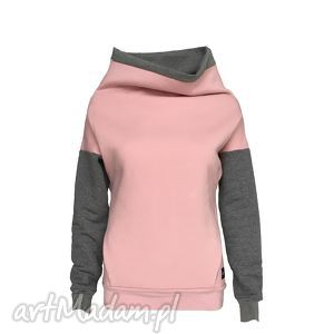 bluza damska z kieszonką kominem w kolorze pudrowego różu, bluzadamska