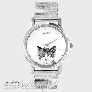 zegarki zegarek, bransoletka - kotek, bransoletka, metalowa, grafika