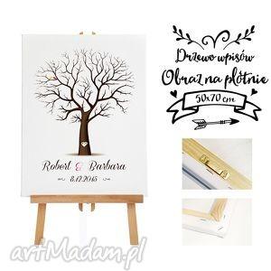 kreatywne wesele obraz na płotnie - drzewo wpisów gości 50x70 cm, ślub