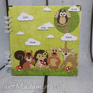 album - leśni przyjaciele zdobione karty , jeż, wiewiórka, sarenka, misiu, sowa