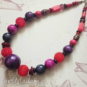 rouge violet - naszyjnik, korale, drewno, akryl
