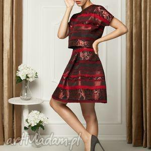 sukienka dwuczęściowa z włoskiej tafty, koktailowa, tafta, bordowa, wesele, impreza