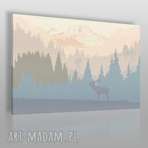 obraz na płótnie - jeleń góry pejzaż 120x80 cm 24001 , jeleń, góry, skandynawia
