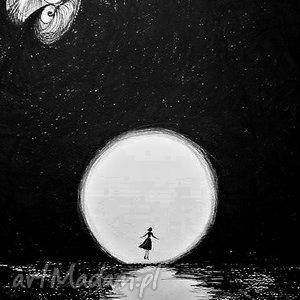 Grafika wykonana piórkiem La luna artystki Adriany Laube, księżyc, pełnia, woda