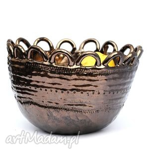 ceramika ceramiczna misa - miedziana, misa, naczynie, ceramika, użytkowe, unikatowe