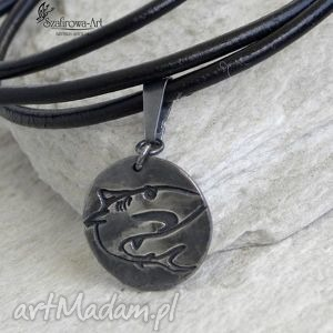 męska rekin, srebro, rzemień, męski, prezent biżuteria
