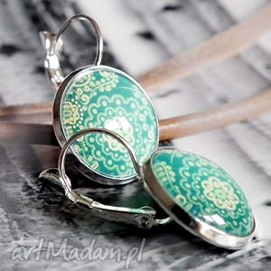 orient azure- piĘkne kolczyki z grafikĄ w szkle - lazurowe, orientalne, proste