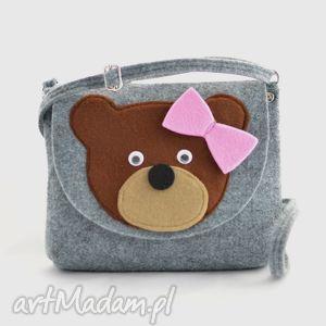 torebka dziecięca- brązowy miś na szarym, dziecko, dziewczynka, torebka, torebeczka
