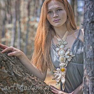 Kremowo-złoty ślubny naszyjnik, ślub, wesle, barokowy, suatsz, soutache