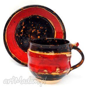 filiżanka z talerzykiem - jtnr126 , filiżaka, talerzyk, ceramika, unikat, komplet