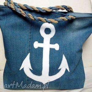 gabiell torba z jeansu kotwicą, torba, ramię, kotwica, jeans, modna, recykling