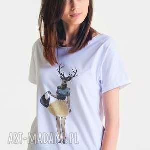bluzki deer female - koszulka oversize damska t-shirt biała, oversize, greatasyou