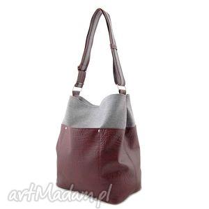 frida - torba worek burgund i szara plecionka, elegancka, pojemna, duża, wyjątkowa
