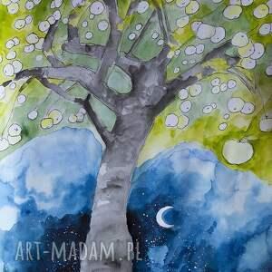 grafika akwarelą i piórkiem antonówki, grafika, rysunek, drzewo, jabłka
