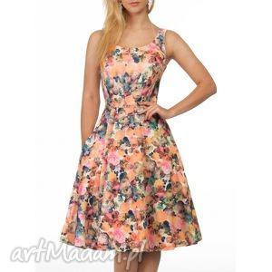 Sukienka LIZA Midi Celine, rozkloszowana, kwiaty, lato, ramiączka, midi, klosz
