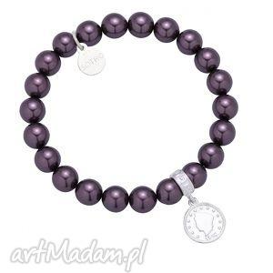 fioletowa bransoletka perły swarovski crystal ze srebrną monetą