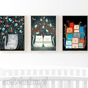 zestaw 3 ilustracji 50x70cm, plakat, zestaw, kot, koty, kocie dom, prezent na święta