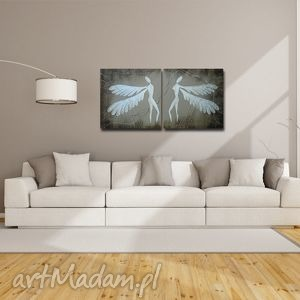 anioły szczęścia - a16 xxl 140x70cm obraz duży na płótnie , anioły, anioł