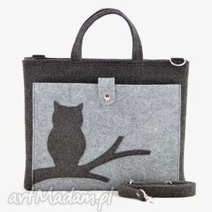 na laptopa duża grafitowa torebka - laptopówka z sową, filc, laptopa, torba