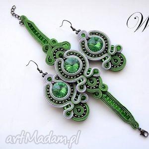 prezent na święta, komplety komplet sutasz zielono siwy, sutasz, komplet, wizytowy