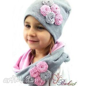 cienki komplet dla dziewczynki - czapka z kominem, czapka, czapki, komin, kominy